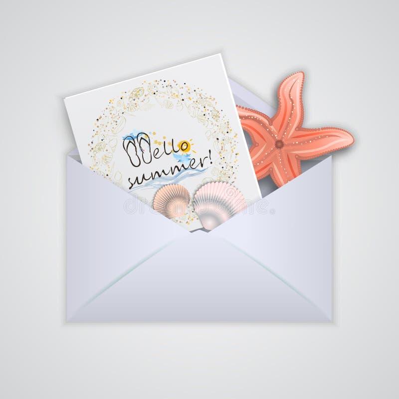 Envelopes postais com cartão Ilustração do vetor ilustração stock
