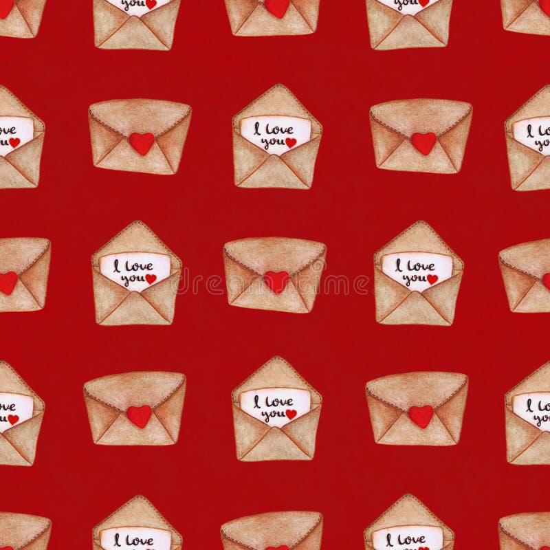 Envelopes postais da aquarela no fundo vermelho Teste padrão sem emenda Fundo do dia do ` s do Valentim ilustração royalty free
