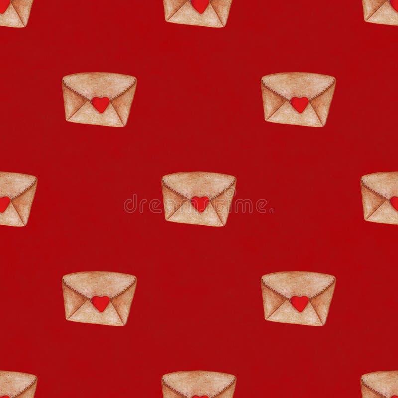 Envelopes postais da aquarela no fundo vermelho Teste padrão sem emenda Fundo do dia do ` s do Valentim ilustração do vetor