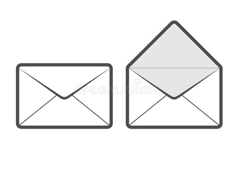 Envelopes próximos e abertos ilustração do vetor