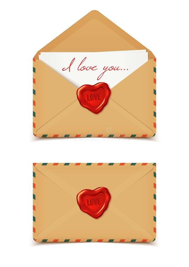 Envelopes românticos do Valentim, cartas de amor, isoladas no branco, v ilustração royalty free