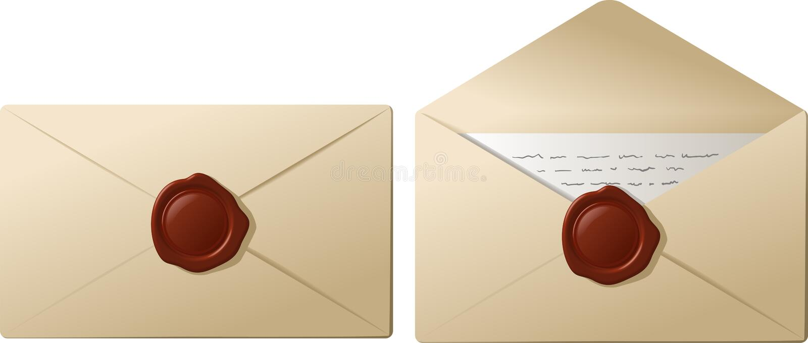 Download Envelopes with sealing wax stock vector. Illustration of mail - 18126332