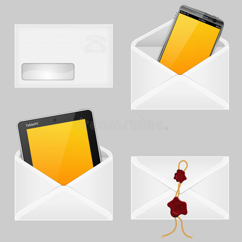 Download Envelopes with Smart Phone stock vector. Image of envelope - 24820410