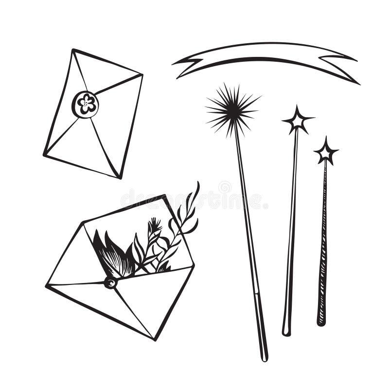 Envelopes tirados mão e esboço mágico do esboço das varinhas r gr?fico ilustração royalty free