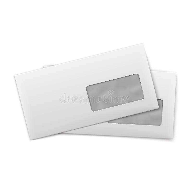 Envelopes vazios com a janela no fundo branco. ilustração royalty free
