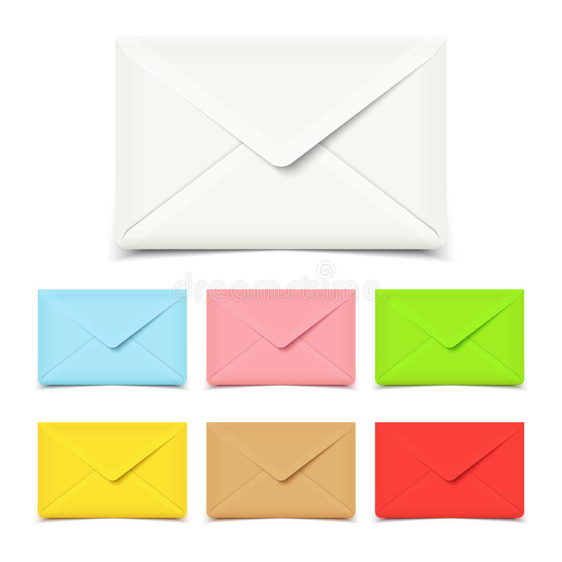 Envelopes vazios no branco, grupo de várias cores ilustração do vetor