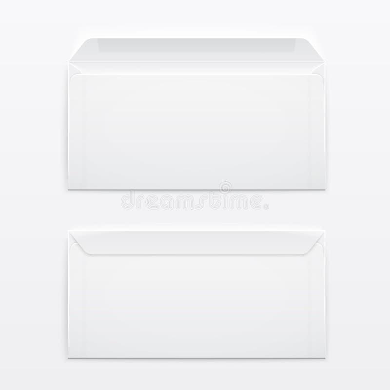 Envelopes vazios no fundo cinzento. ilustração stock