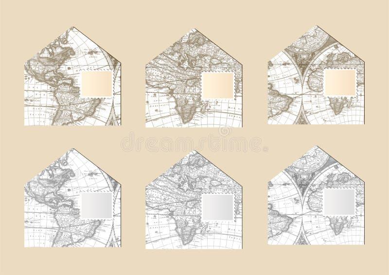 Envelopes velhos do mapa ilustração royalty free