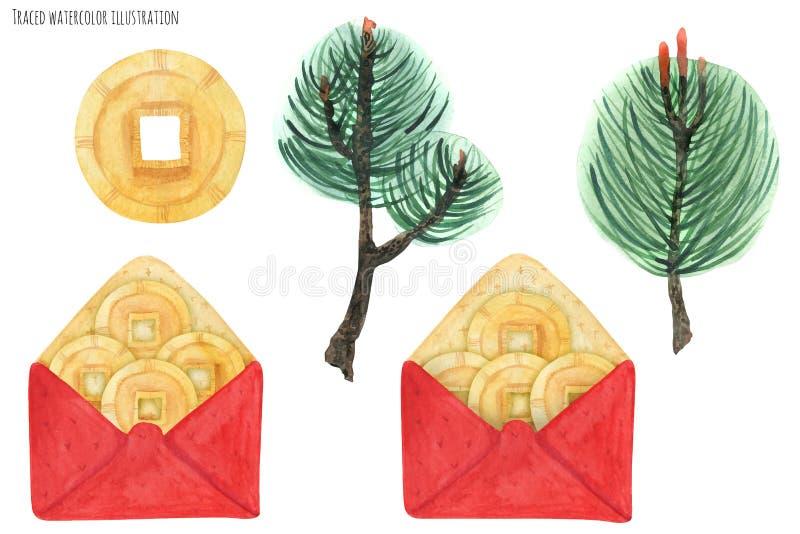 Envelopes vermelhos chineses ilustração royalty free