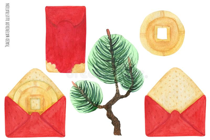Envelopes vermelhos chineses ilustração stock