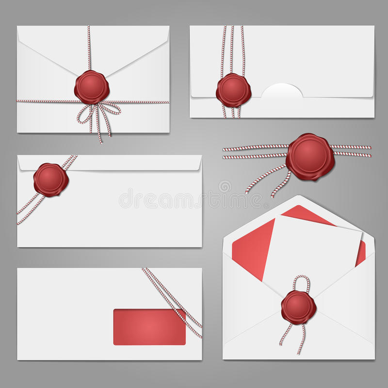 Envelopes with a wax seal set royalty free illustration
