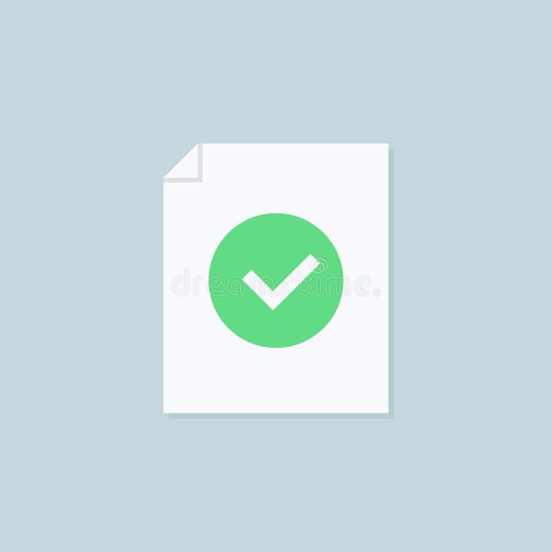 Enveloppe avec l'icône de document approuvée Confirmation d'email Ouvrez l'enveloppe avec un document Lettre neuve Conception pla illustration libre de droits
