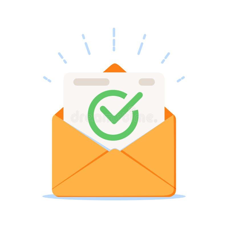 Enveloppe avec l'icône de document approuvée Illustration de vecteur de confirmation d'email illustration stock