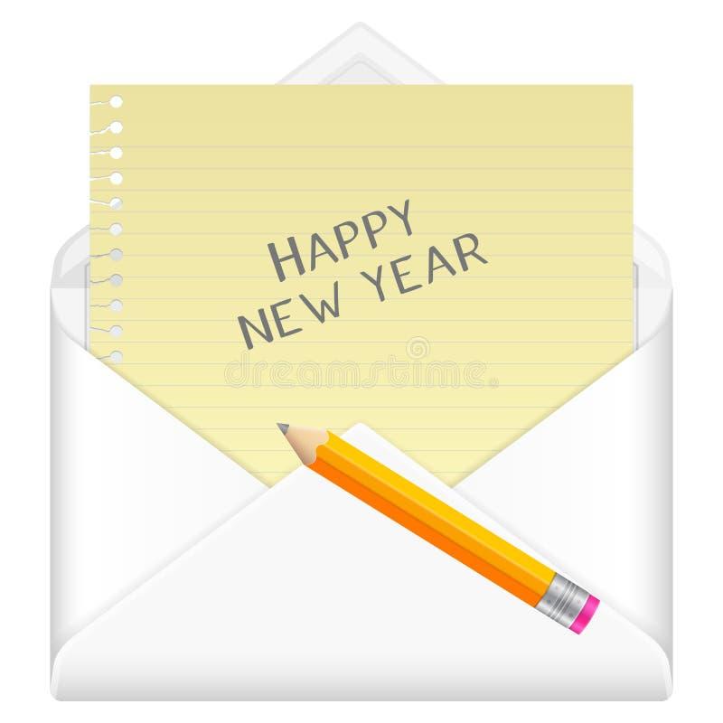 Enveloppe avec la bonne année illustration stock