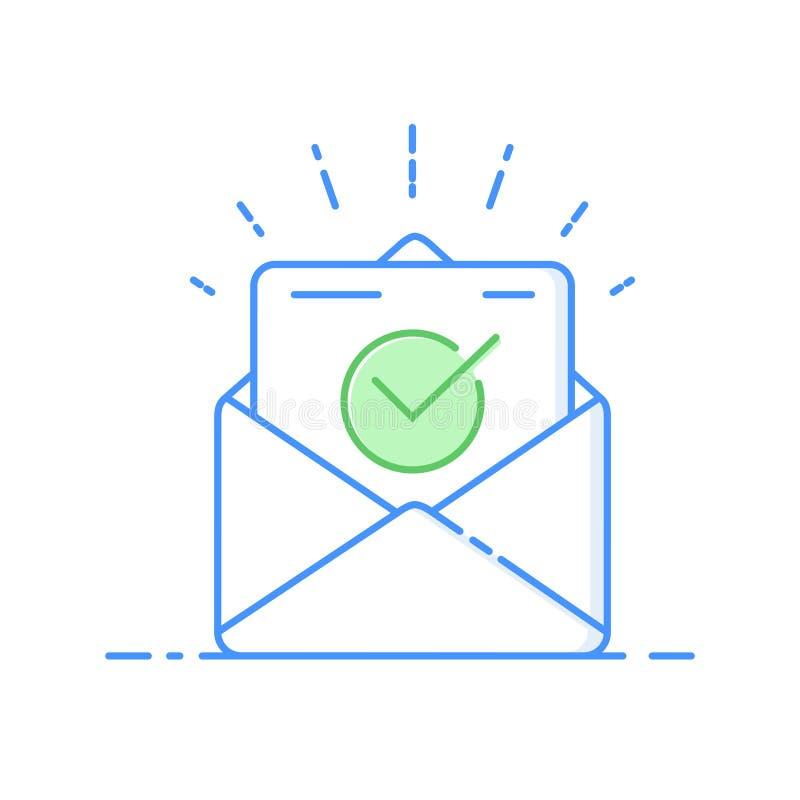 Enveloppe avec la ligne mince icône de document approuvé Illustration de vecteur de confirmation d'email illustration libre de droits