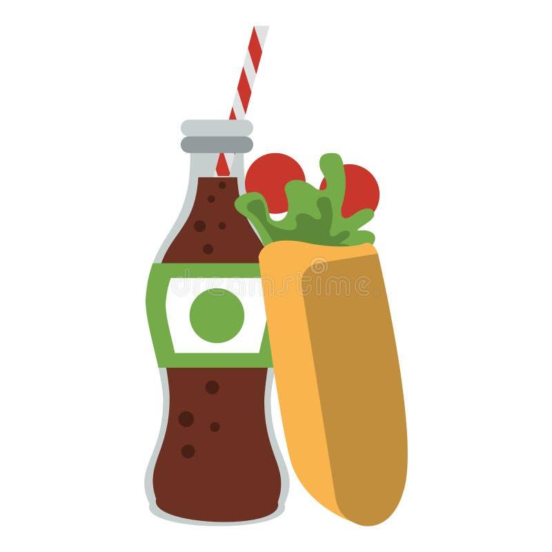 Enveloppe avec la nourriture de bouteille de soude de kola illustration stock
