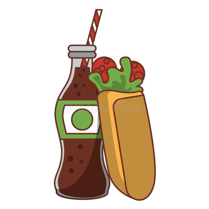 Enveloppe avec la nourriture de bouteille de soude de kola illustration de vecteur
