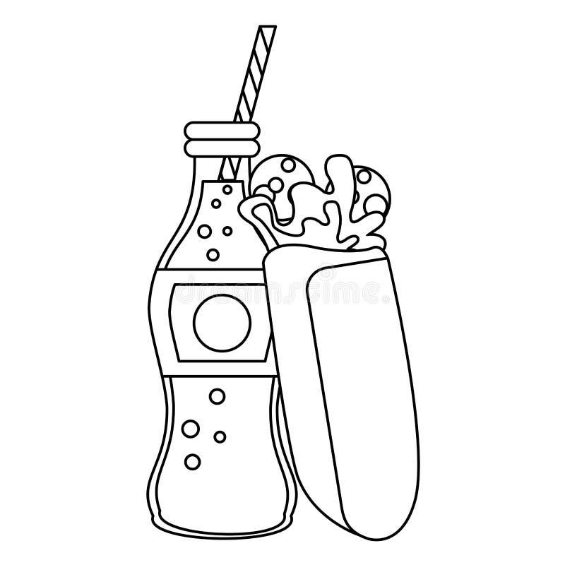 Enveloppe avec la nourriture de bouteille de soude de kola en noir et blanc illustration de vecteur