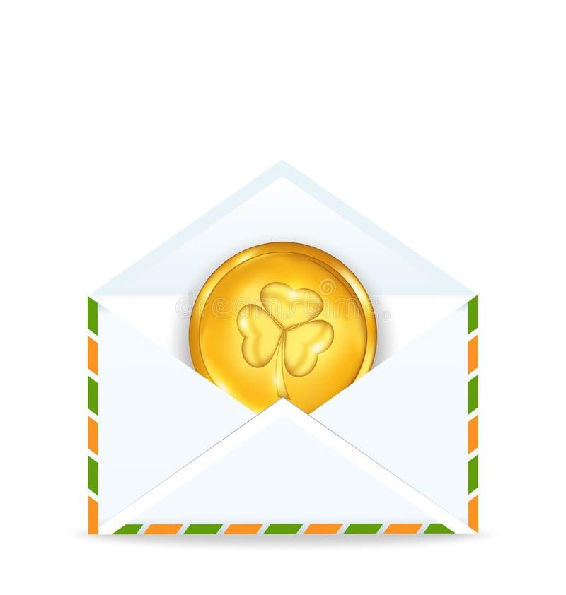 Enveloppe avec la pièce de monnaie d'or pour le jour de St Patrick illustration libre de droits