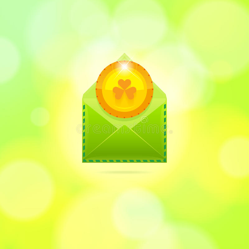 Enveloppe avec la pièce de monnaie d'or pour le jour de St Patrick photos stock