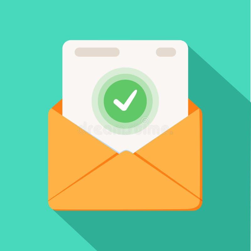 Enveloppe avec le document et l'icône verte ronde de coche La livraison réussie d'email, confirmation de la livraison d'email illustration de vecteur