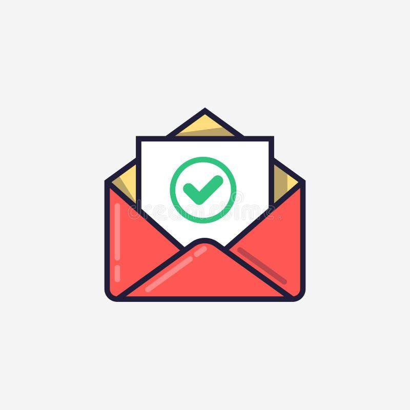 Enveloppe avec le document et l'icône verte ronde de coche La livraison réussie d'email, confirmation de la livraison d'email illustration stock