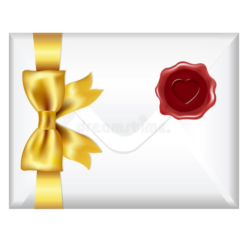 Enveloppe avec le joint d'or d'arc et de cire illustration libre de droits