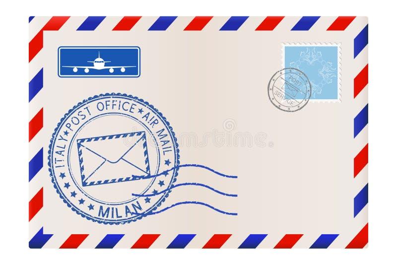 Enveloppe avec le timbre de MILAN Affranchissement international de courrier avec le cachet de la poste et les timbres illustration libre de droits