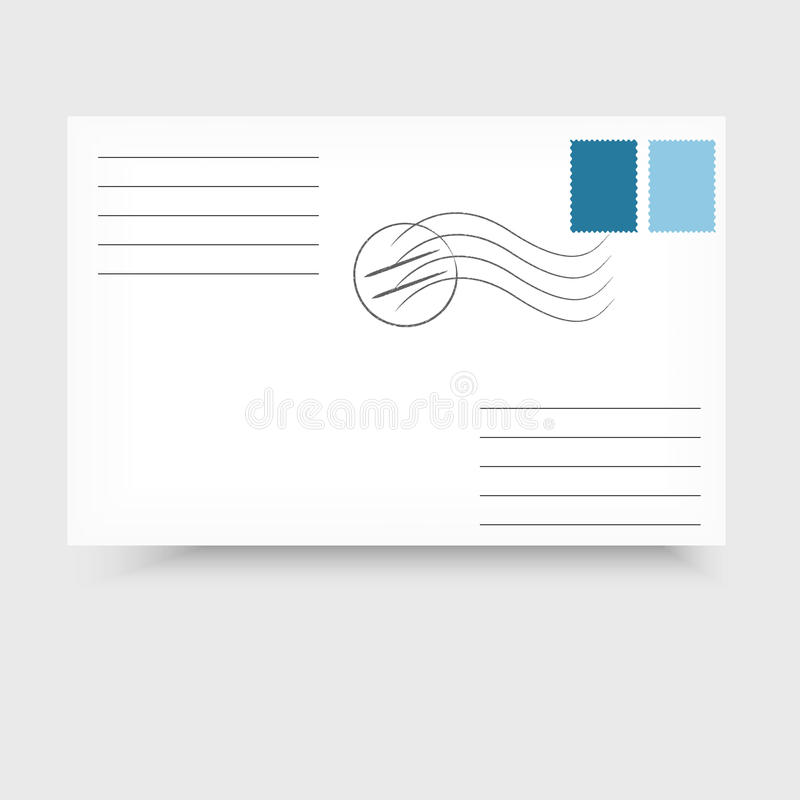 Enveloppe avec le timbre postal sur le fond blanc illustration libre de droits