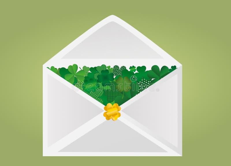 Enveloppe avec le trèfle vert à l'intérieur Jour du ` s de StPatrick Vecteur illustration libre de droits