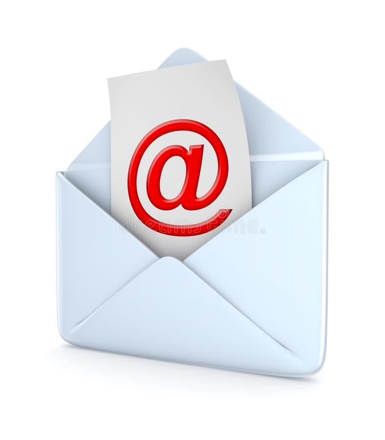 Enveloppe avec un rouge au symbole. illustration stock