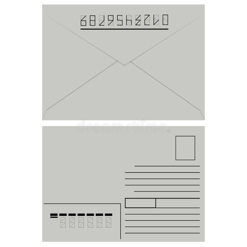 Enveloppe blanche avec l'estampille. illustration stock