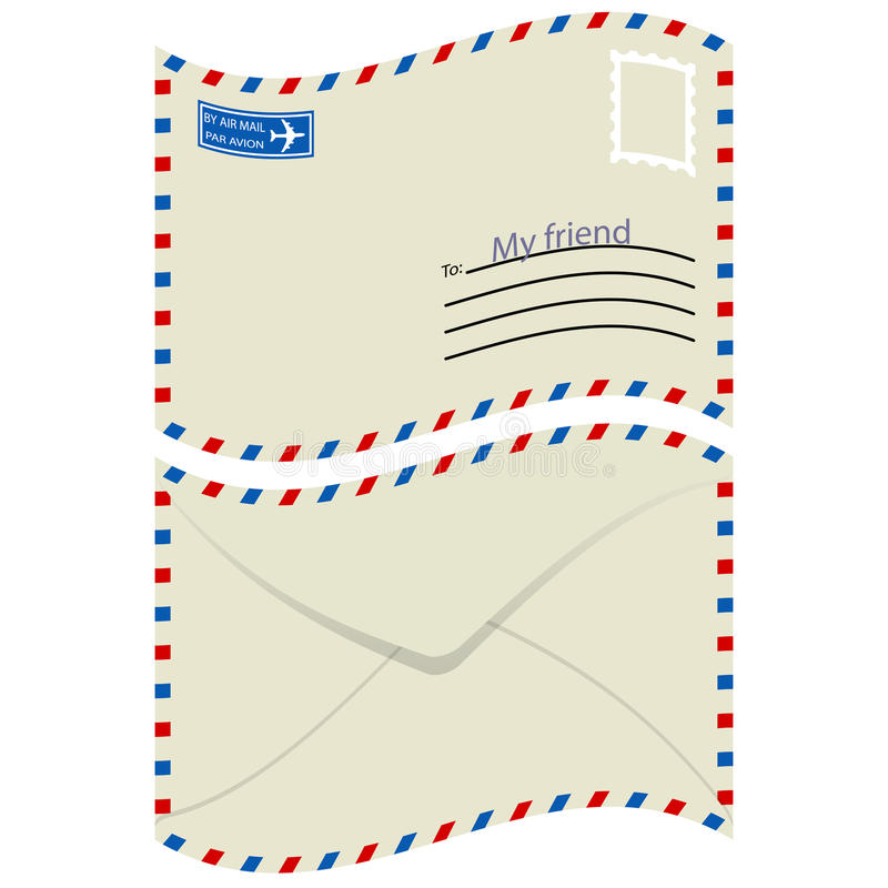 Enveloppe blanche avec l'estampille. illustration de vecteur