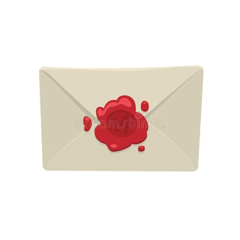Enveloppe blanche de bande dessinée avec le joint rouge de cire d'isolement sur le fond blanc illustration libre de droits