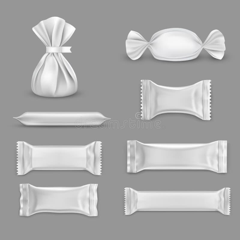 Enveloppe blanche isolée pour bonbons, chocolat illustration stock