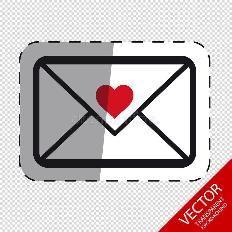 Enveloppe d'amour - icônes d'isolement de vecteur sur le fond transparent illustration stock