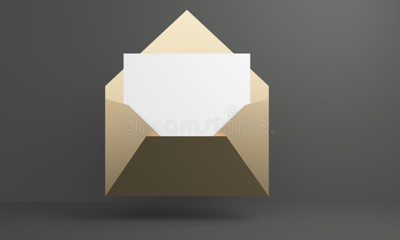 Enveloppe d'or de maquette avec le livre blanc rendu 3d illustration de vecteur