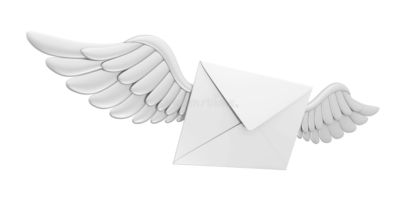 Enveloppe de courrier d'ailes de vol illustration stock