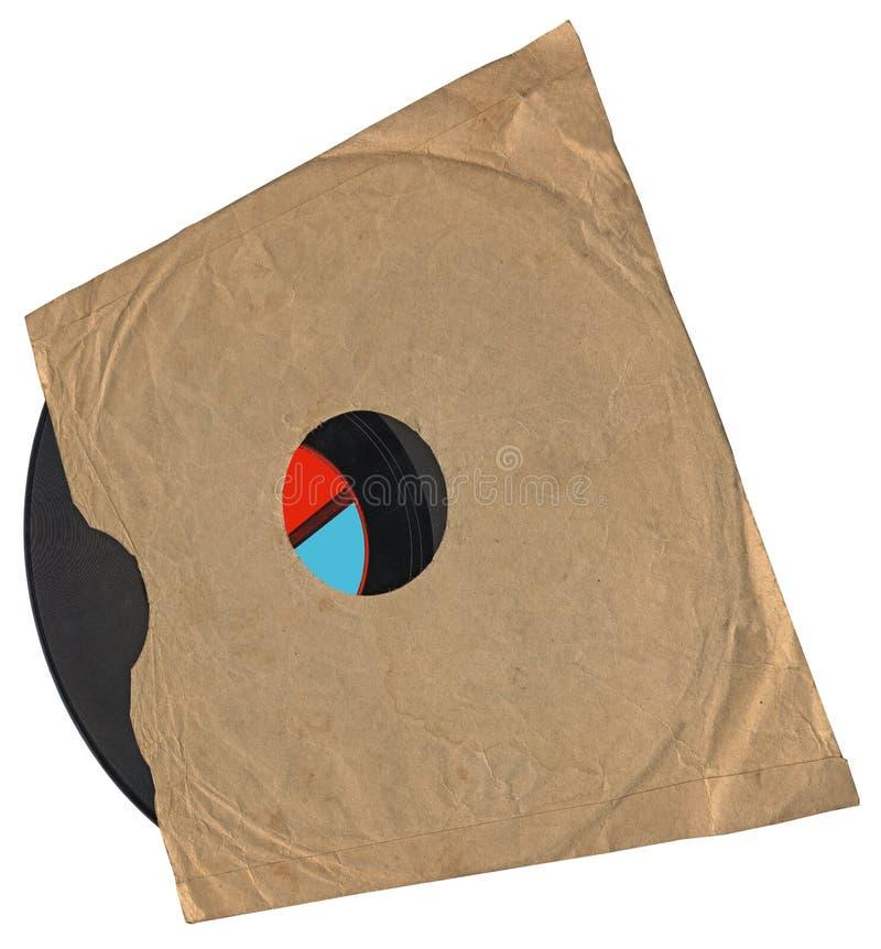 Enveloppe de cru, vieil enregistrement de vinyle, texture de papier photographie stock