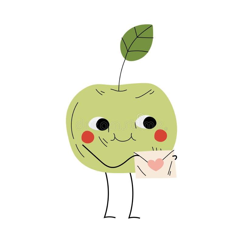 Enveloppe de fixation de pomme souriante, personnage de fruits gai avec un vecteur de visages amusant illustration de vecteur
