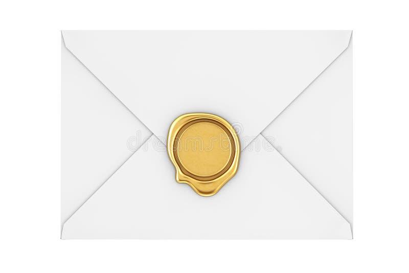 Enveloppe de lettre avec le joint d'or de cire rendu 3d illustration stock