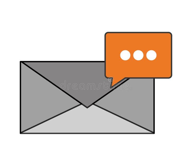 Enveloppe de message et icône de bulle de conversation illustration de vecteur