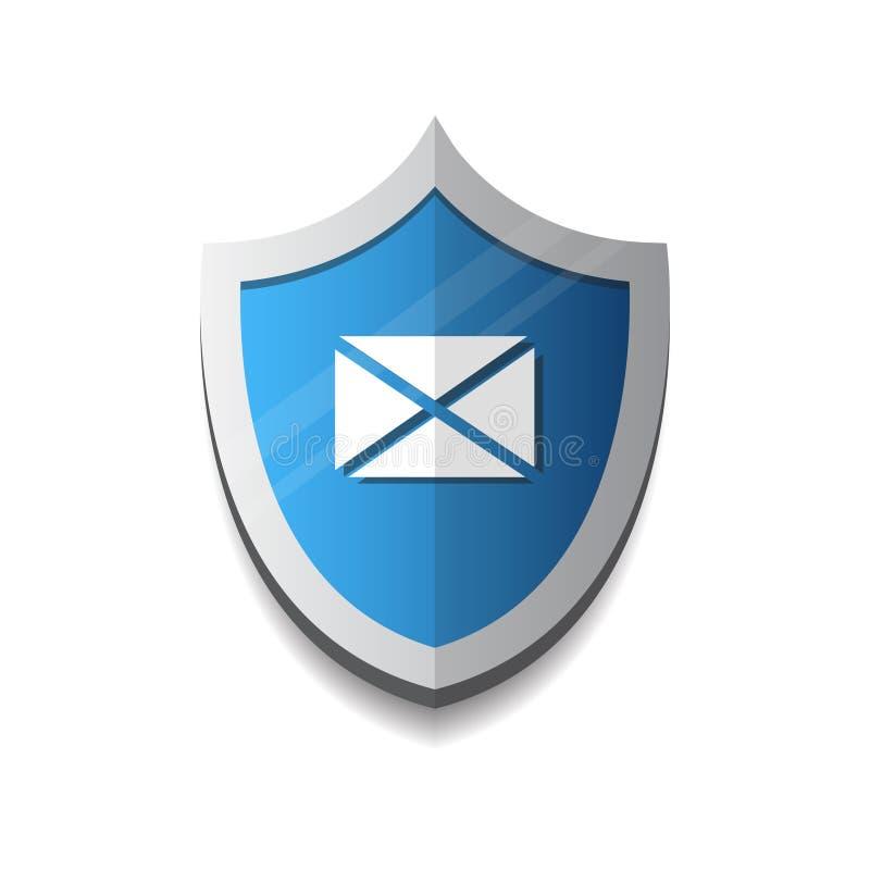 Enveloppe de protection d'email sur le concept de sécurité d'icône de bouclier illustration de vecteur