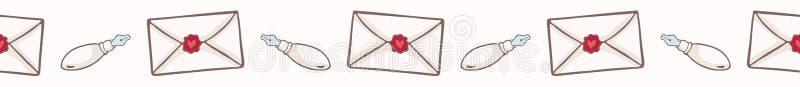 Enveloppe de vecteur avec le joint de cire de coeur Frontière sans couture de vecteur illustration libre de droits