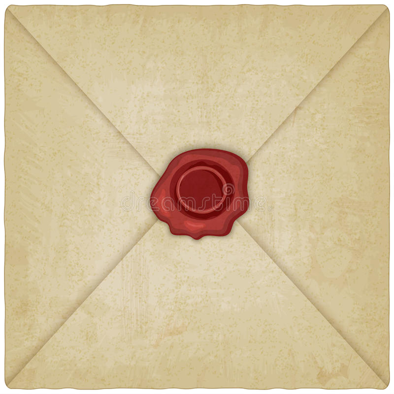 Enveloppe de vintage avec le joint de cire illustration libre de droits