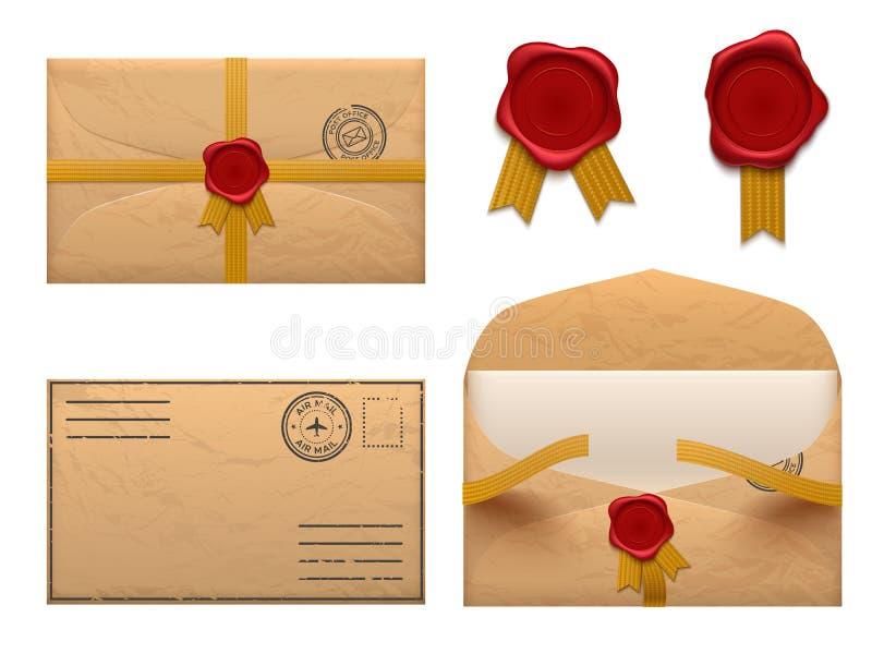 Enveloppe de vintage Rétro lettre d'enveloppes avec le timbre de joint de cire, vieil ensemble de vecteur de distribution du cour illustration libre de droits