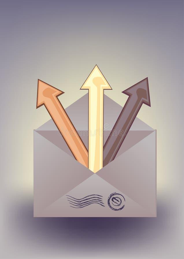 Enveloppe et flèches illustration stock