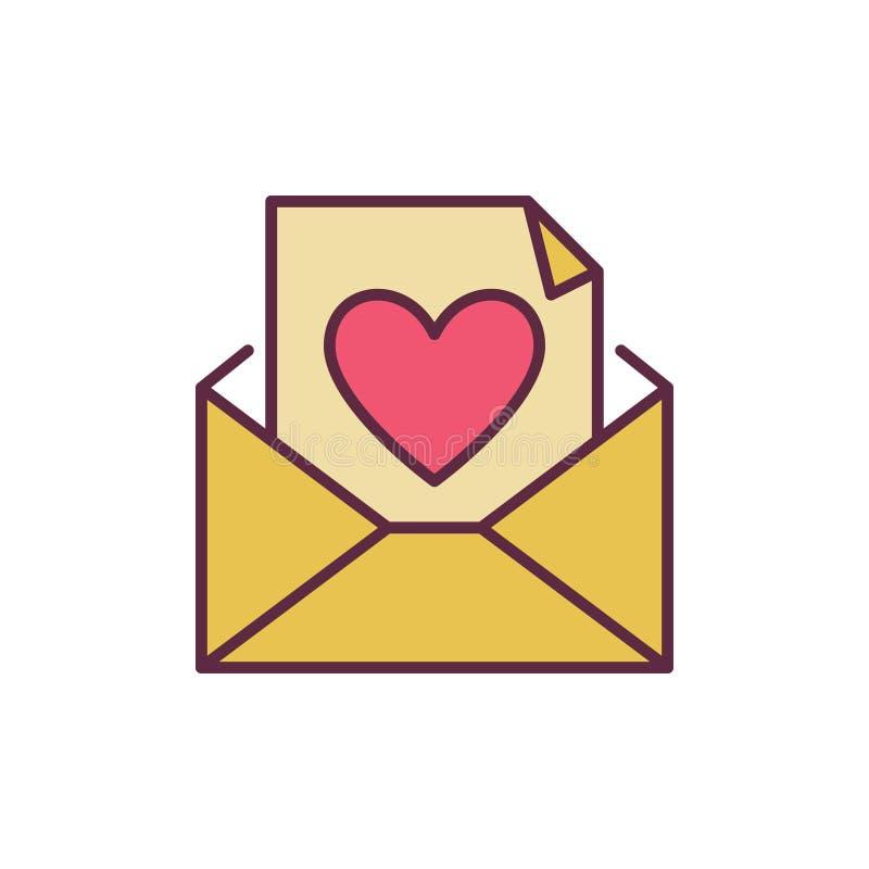 Enveloppe et lettre avec l'icône créative de vecteur de coeur illustration de vecteur