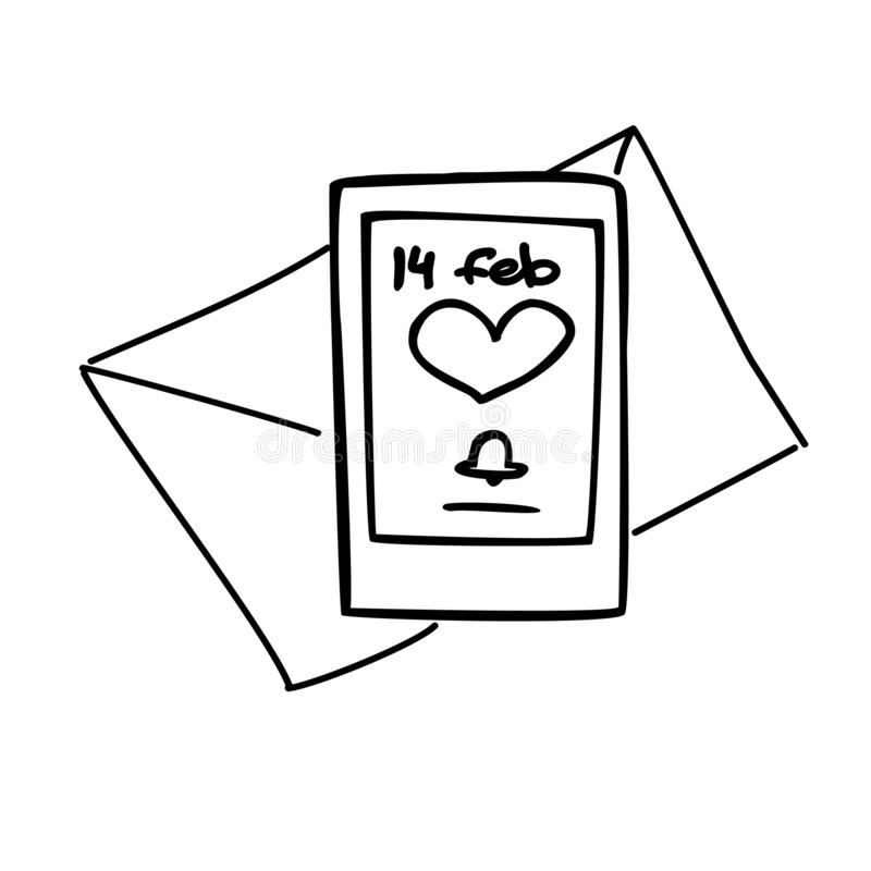 Enveloppe et téléphone de vecteur avec l'avis de valentin illustration libre de droits
