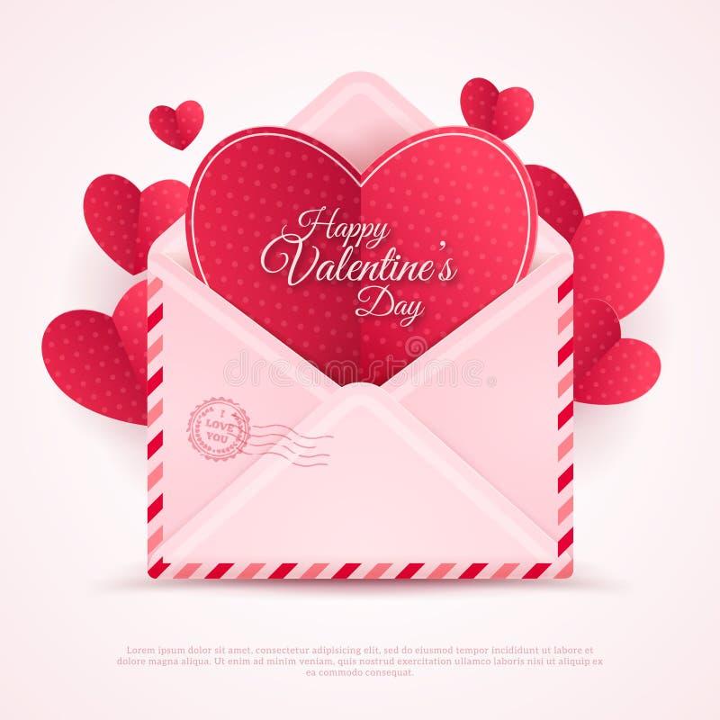 Enveloppe heureuse de Saint-Valentin avec les coeurs de papier illustration stock